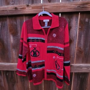 Crazy Cat Lady Sweater Zip Up Cardigan Red XL